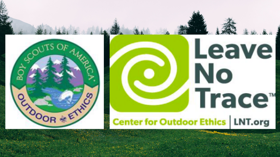 Banner with logos for Leave No Trace and Outdoor Ethics on a forest background setting.banner